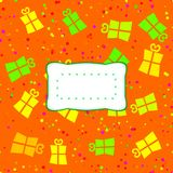 Optimistic orange red yellow green pattern with stylized gifts. stock photo