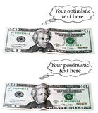 Optimistic or pessimistic 20 dollar set Stock Image