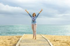 Optimistic way of life. Power of a Positive Woman. stock photo