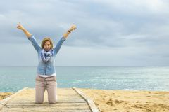 Optimistic way of life. Power of a Positive Woman. royalty free stock photos