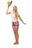 The optimistic woman in pink plaid shorts isolated on white Stock Image