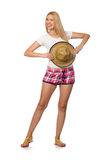 The optimistic woman in pink plaid shorts isolated on white Royalty Free Stock Photos