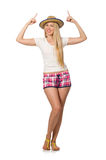 The optimistic woman in pink plaid shorts isolated on white. Optimistic woman in pink plaid shorts isolated on white Royalty Free Stock Photography