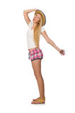 The optimistic woman in pink plaid shorts  on white Stock Image