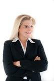 Optimistische Bürofrau in einer Klage Lizenzfreies Stockbild