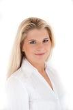 Optimistische Geschäftsfrau im weißen Hemd Stockfoto