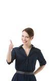 Optimistisches Frauengeben Daumen oben Lizenzfreie Stockbilder