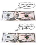 Optimistisches oder pessimistisches 50-Dollar-Set Stockbilder