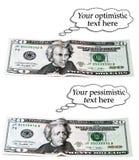 Optimistisches oder pessimistisches 20-Dollar-Set Stockbild