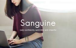 Optimistiskt begrepp för sangviniskt livsstilförtroende arkivbilder