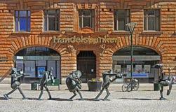 Optimistorkesteren är skulptur på den Sodergatan gatan i Malmo, Sverige Fotografering för Bildbyråer
