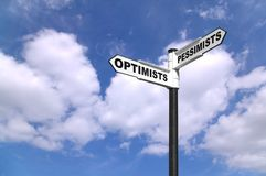 Optimists and Pessimists signpost. Concept image of a signpost for Optimists and Pessimists Stock Photography