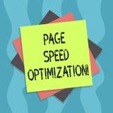 Optimización conceptual de la velocidad de la página de la demostración de la escritura de la mano El texto de la foto del negoci stock de ilustración