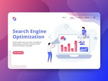 Optimización de aterrizaje del Search Engine de la página stock de ilustración