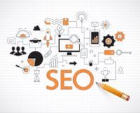 Optimización de la información y del sitio web SEO de la búsqueda del Analytics ilustración del vector