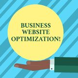 Optimización de la página web del negocio de demostración de la muestra del texto Alza conceptual de la foto y mejorar el análisi ilustración del vector