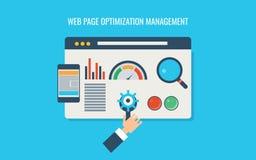 Optimización de la página web, seo de la página web, prueba de velocidad cargada, codificación, programación, responsiva Bandera  ilustración del vector