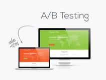 Optimización de la prueba de A/B en el ejemplo del vector del diseño del sitio web Foto de archivo libre de regalías