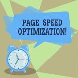 Optimización de la velocidad de la página de la demostración de la muestra del texto La foto conceptual mejora la velocidad del c libre illustration