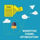 Optimización del embudo del márketing del texto de la escritura Significado del concepto que mejora la información de la campaña  ilustración del vector