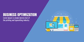 Optimización del negocio, seo de la pequeña empresa, estrategia digital, concepto del márketing de Internet Ejemplo plano del vec stock de ilustración
