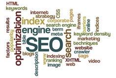 Optimización del Search Engine de SEO - nube de la palabra Imágenes de archivo libres de regalías