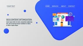 Optimización del Search Engine, márketing contento para las páginas web, plantilla de la página web del vector libre illustration