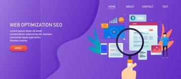 Optimización del Search Engine, seo de la página web, márketing contento y promoción social de los medios, mano que sostiene la l stock de ilustración