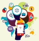 Optimización del seo del dispositivo del teléfono móvil Illustrat del concepto del negocio Fotografía de archivo