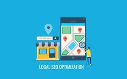 Optimización local del seo, optimización de la búsqueda para el negocio local, tienda local de la búsqueda de usuario en móvil Ba libre illustration