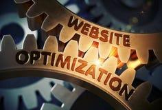 Optimización del sitio web en los engranajes de oro del diente ilustración 3D Foto de archivo