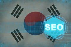 Optimization för motor för Republiken Korea Sydkorea seosökande Begrepp för sökandemotoroptimization Royaltyfri Bild