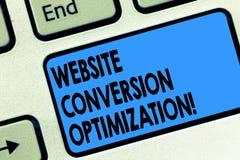 Optimization för omvandling för Website för textteckenvisning Begreppsmässigt fotosystem för ökande tangent för websitebesökareta royaltyfri bild