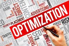 OPTIMIZATION. Word cloud, business concept Stock Images