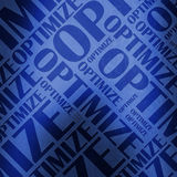 Optimize text illustration blue. Illustration of the word optimize at various sizes, blue Royalty Free Stock Image