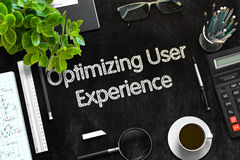 Optimizing User Experience Concept. 3D render. Optimizing User Experience on Black Chalkboard. 3d Rendering. Toned Image Stock Images