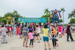 Optimus början och humlatransformatorutställning på promenaden Penang, Malaysia Arkivfoton