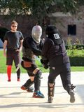 Optimus Bucharest HEMA Open - Longsword fighting. Optimus Bucharest HEMA Open - Longsword - Autumn 2017 - Longsword competion at Mogosoaia Palace - 13 octombrie Stock Photos