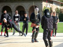 Optimus Bucharest HEMA Open - Longsword battle. Optimus Bucharest HEMA Open - Longsword - Autumn 2017 - Longsword competion at Mogosoaia Palace - 13 octombrie Royalty Free Stock Photography
