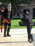 Optimus Bucharest HEMA Open - Longsword fight. Optimus Bucharest HEMA Open - Longsword - Autumn 2017 - Longsword competion at Mogosoaia Palace - 13 octombrie Stock Photo