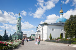 Optina Pustyn monastery. Optina Pustyn. A view of a belltower and the Temple in honor of the Kazan icon of the Mother of God from the Sacred Gate Stock Photos