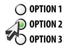 Option 1 2 or 3 selection illustration Royalty Free Stock Image