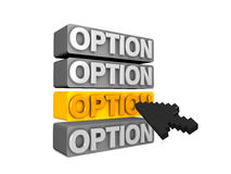 Option. 3d image, conceptual options menu Royalty Free Stock Image
