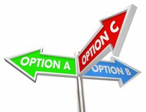 Option A B C Choices Decide Best Way 3 Street Signs 3d Illustrat. Ion Stock Photography