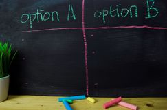 Option A or Option B written with color chalk concept on the blackboard royalty free stock photography