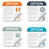 Option Backgrounds with Folding Paper Corner Stock Images