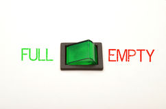 Option - full or empty. A switch is used as a metaphor for life - a situation may seem to be full or empty Stock Photo