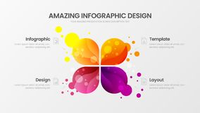 4 option marketing analytics vector illustration template. Business data design layout. Colorful organic statistics infographic. Premium quality 4 option royalty free illustration