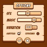 Option menu wooden style game buttons Royalty Free Stock Photo