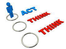 Act or think. Option set to act, a man figure selecting action over thinking, white background, red and blue text stock illustration